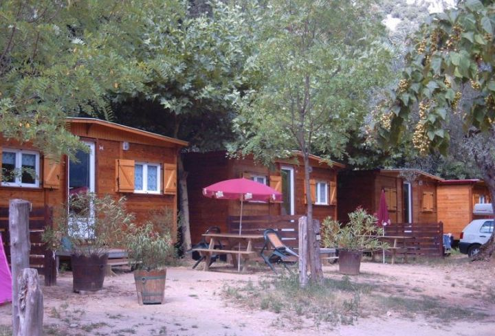 Mobile chalets at the campsite