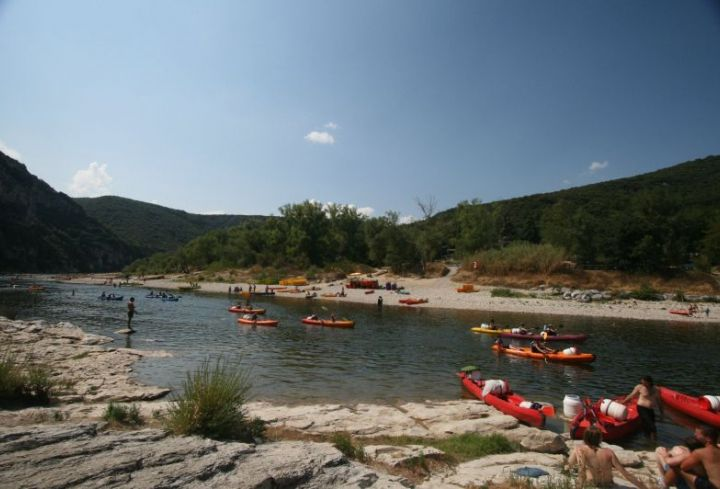 Campsite's beach on the river side